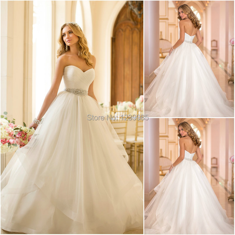2016 Glamorous Sexy Sweetheart Off The Shoulder Ball Gown Organza Wedding Dresses With Beading Belt Low Back Sweep Train In From Weddings