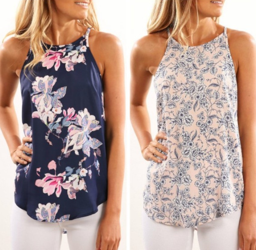 Vest Shirt Flower Camisole Printed Sexy Large-Size Women Casual Summer Sleeveless New