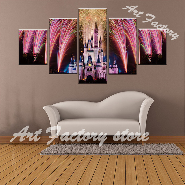5 pieces pink dream castle fireworks bloom decor canvas poster wall picture art hd print painting