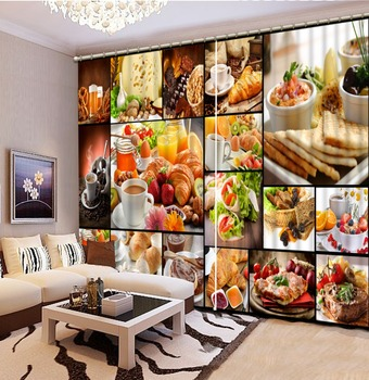 Custom 3D Curtain Living room delicious food Blackout Window Curtain For Home Decoration