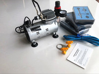 High quality Airbrush Kit +Air Compressor paint Spray gun Air Brush Set sandblaster Tattoo Nail Art Supply w/Cleaning Brush