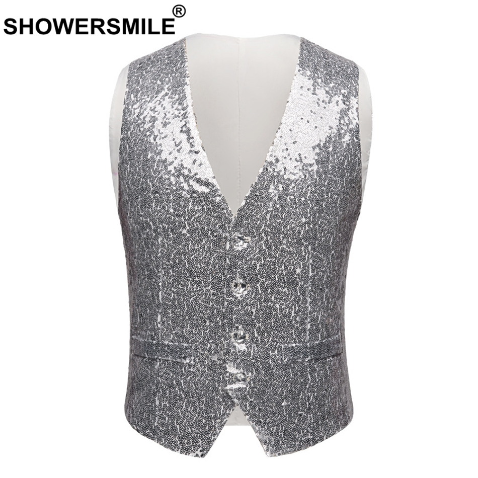 SHOWERSMLE Rock Vests For Men Red Sequin High Street Waistcoat Male Stage Punk Autumn Winter Slim Fit Sleeveless Jacket Gilet in Vests amp Waistcoats from Men 39 s Clothing