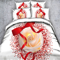 Free shipping 100%cotton 3d flower rose chrysanthemum 4pcs bedding set twin/full/queen/king/super king size home textile