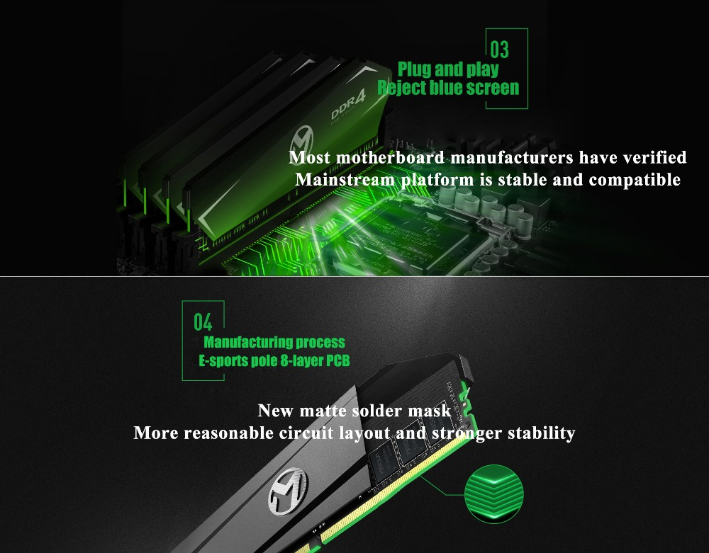 MAXSUN ram ddr4 8GB/16GB Desktop RAMs 4gb Memory 2400MHz memory voltage 1.2V Lifetime Warranty 288pin Flash Single effective RAM 31