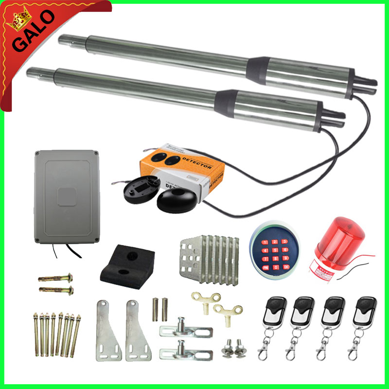 Galo AC 110V/220V Electric Linear Actuator 300kgs Engine Motor System Automatic Swing Gate Opener + 4 remote control galo 20w 17v solar panel power system linear actuator swing steel wooden gate opener 24vdc motor with infrared beams sonser