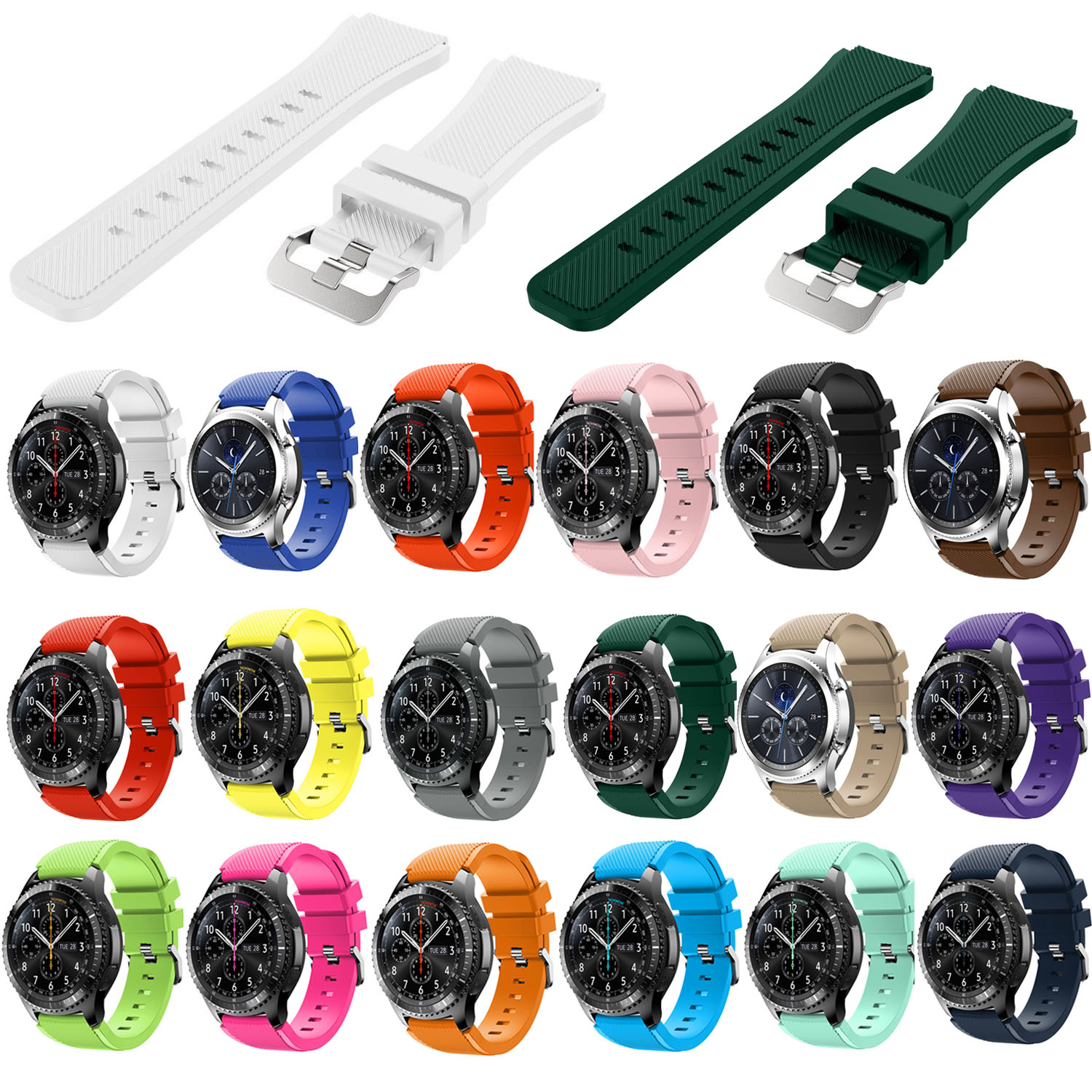 RS 18 Colors Rubber Bracelet for Samsung Gear S3 Frontier Silicone Watch Band for Gear S3 Classic Sports Strap 22mm Belts w PinsRS 18 Colors Rubber Bracelet for Samsung Gear S3 Frontier Silicone Watch Band for Gear S3 Classic Sports Strap 22mm Belts w Pins