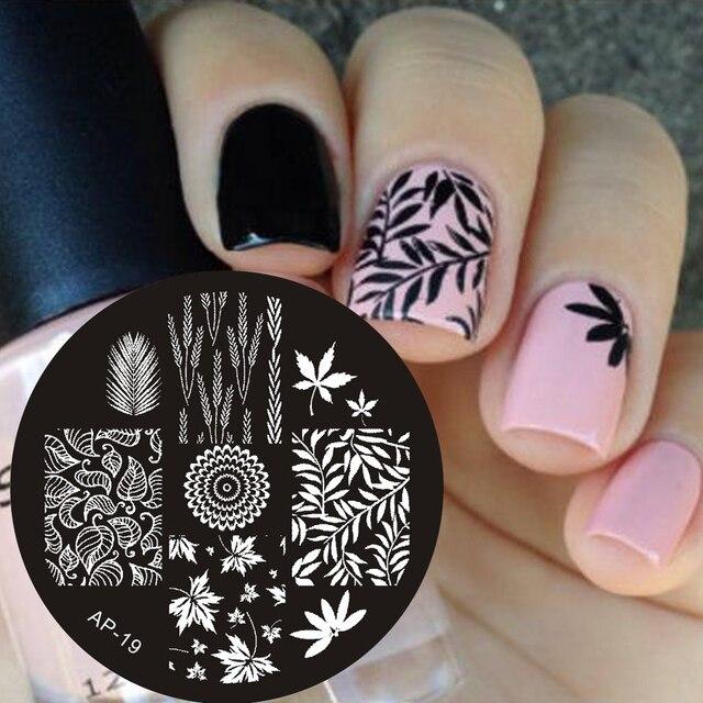 Pandox Ap19 Liście Motyw Nail Art Stamp Płyt Obrazowych Paznokci