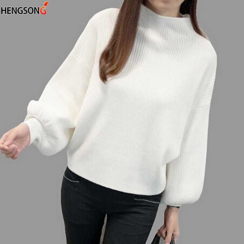 Hengsong 2019 가을 랜턴 슬리브 절반 터틀넥 레이디 여성 탑 여성 스웨터 의류 새로운 패션 한국어 새로운 5 색