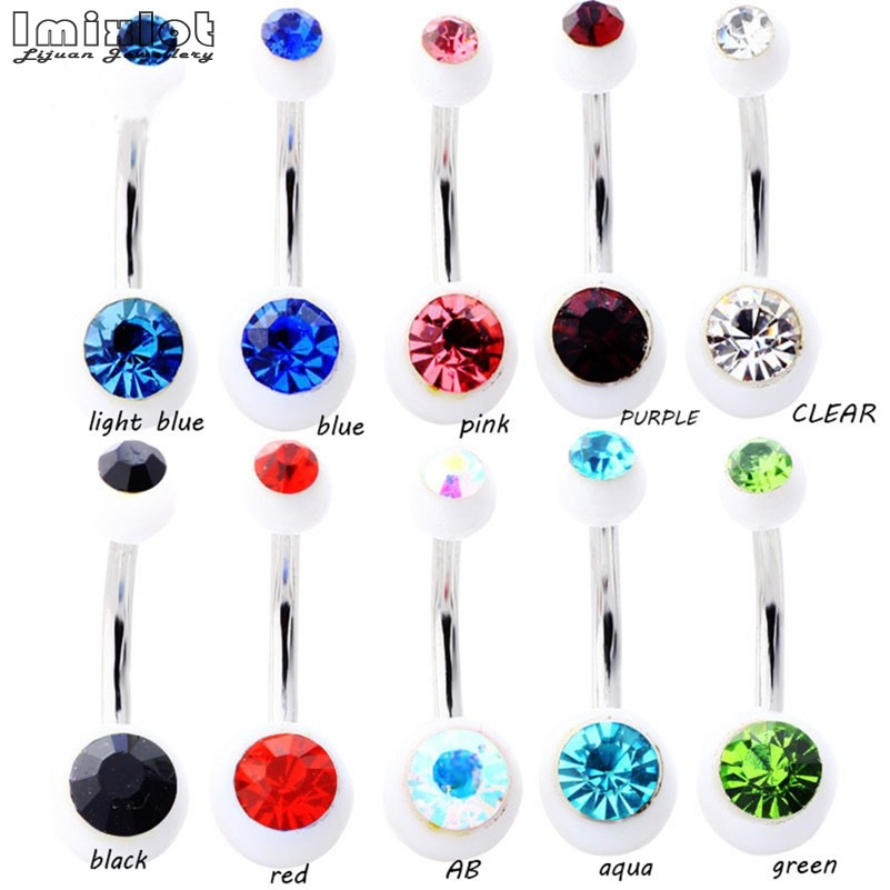 10 Pcslot Piercing Navel Surgical Steel Single Crystal -7071