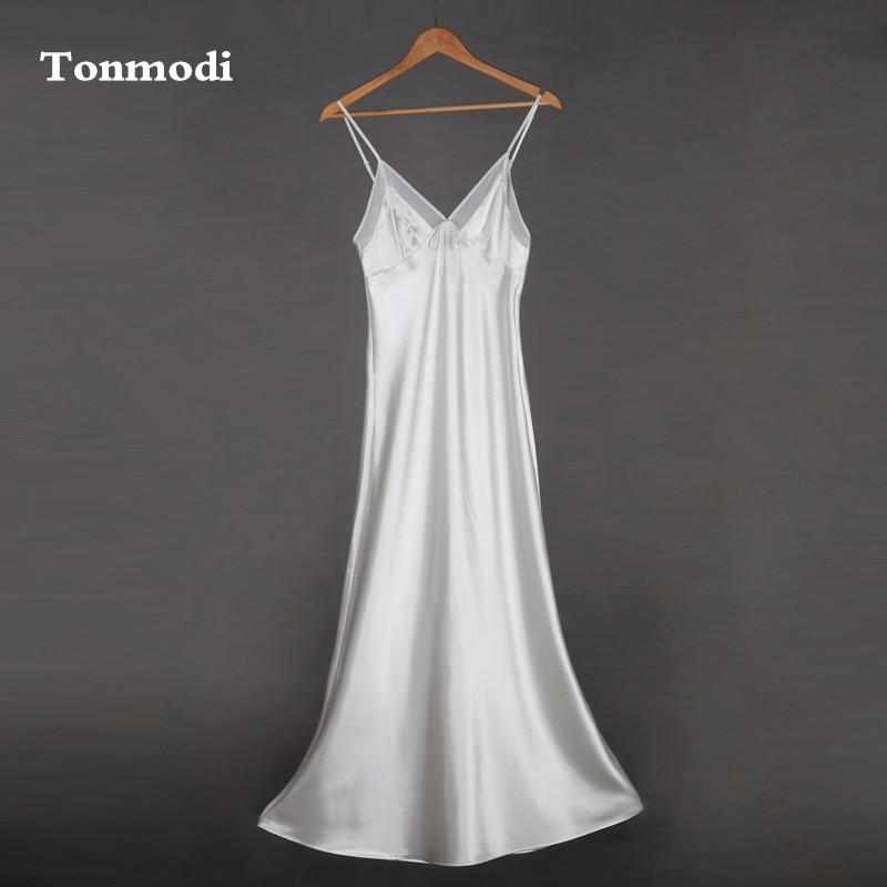 Strap Sexy Very Long Nightgown Silk Royal Sleepwear Women Lounge White Sleep Nightgowns