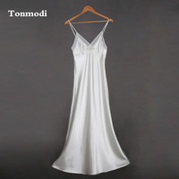 Strap Sexy Very Long Nightgown Silk Royal Sleepwear Women Lounge White Sleep Nightgowns