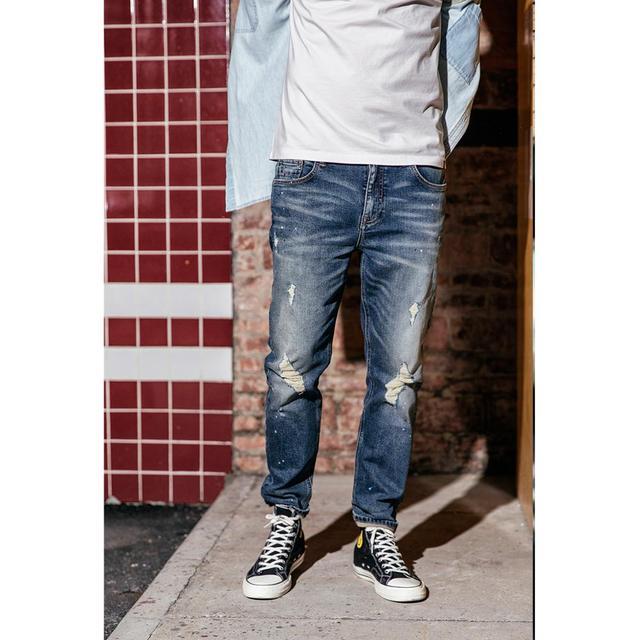 Men's Jeans Fashion Ankle-Length Slim Fit