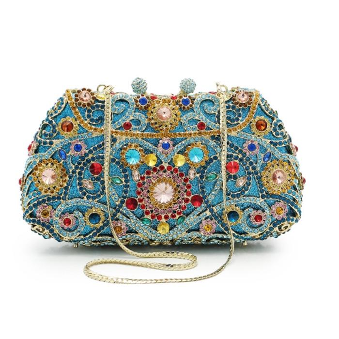 XIYUAN BRAND Luxury Beaded blue Evening Clutch Bag Women champagne Clutch Handbag Lady Wedding Purse Party Rhinestones Pearl bag