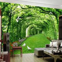 Papel tapiz De foto personalizado para paredes 3 D verde bosque con árboles césped 3D estéreo fondo del espacio Papel De pared decoración del hogar Mural Papel De pared