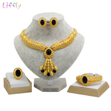 Liffly Bridal Jewelry Set Dubai Gold Jewelry Sets for Women Indian Wedding Necklace Earrings Ring Bracelet Jewellery Wholesale недорого