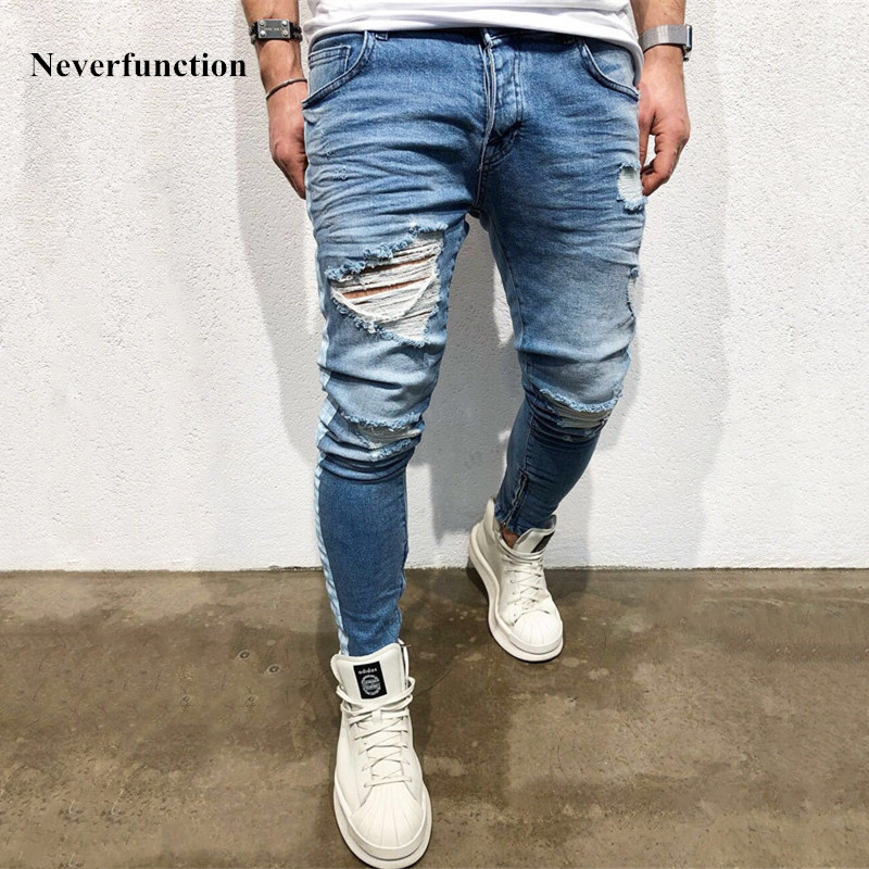 KANYE WEST Destroyed Knee Hole Side Zipper Slim Distressed   Jeans   Men justin bieber Ripped tore up   Jeans   For Men stripe pants