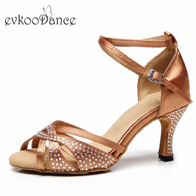 Evkoodance Size US 4-12 Brown/ Black With Rhinostone Salsa Satin Dance Shoes 7cm Heel Height Professional For Women Evkoo-513 цена
