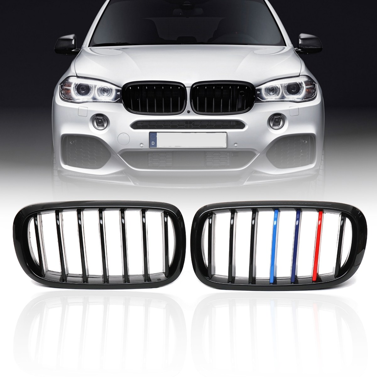 For BMW X5 F15 X6 F16 X5M F85 X6M F86 2014 2015 2016 2017 Pair Gloss Matt Black M-Color Front Kidney Racing Bumper Grille Grill x5 x6 m performance sport design m color front grill dual slat kidney custom auto grille fit for bmw 2015 2016 f15 f16 suv