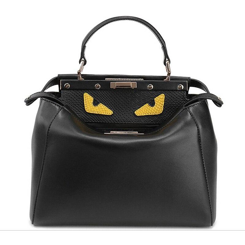 ФОТО Fashion Korean style cartoon cat eye design famous brand women's handbags real cowhide genuine leather shoulder bag large totes