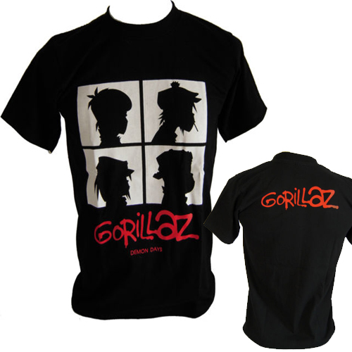 Gorillaz t shirt men two sides Gorillaz Demon Days Rock Band casual gift short tee USA p ...