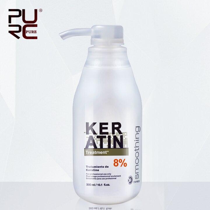 Reproductores tratamiento de queratina brasileña alisar el cabello 8% formol 300 ml eliminar el frizz y brillante y un cabello más sano
