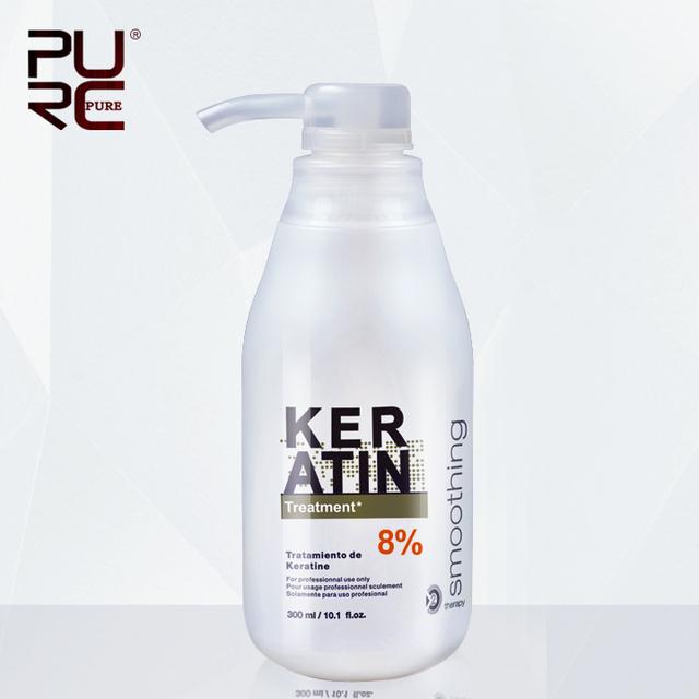 Tratamiento de queratina brasileña alisamiento 8% formalina envío gratis 300 ml eliminar frizz y brillante y saludable pelo