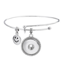New Brand Jewelry Silver Plated Smile Shape Charm with Snap Buttons Charm Button Jewelry Bracelet &Bangle for Women Party SBRR42(China)