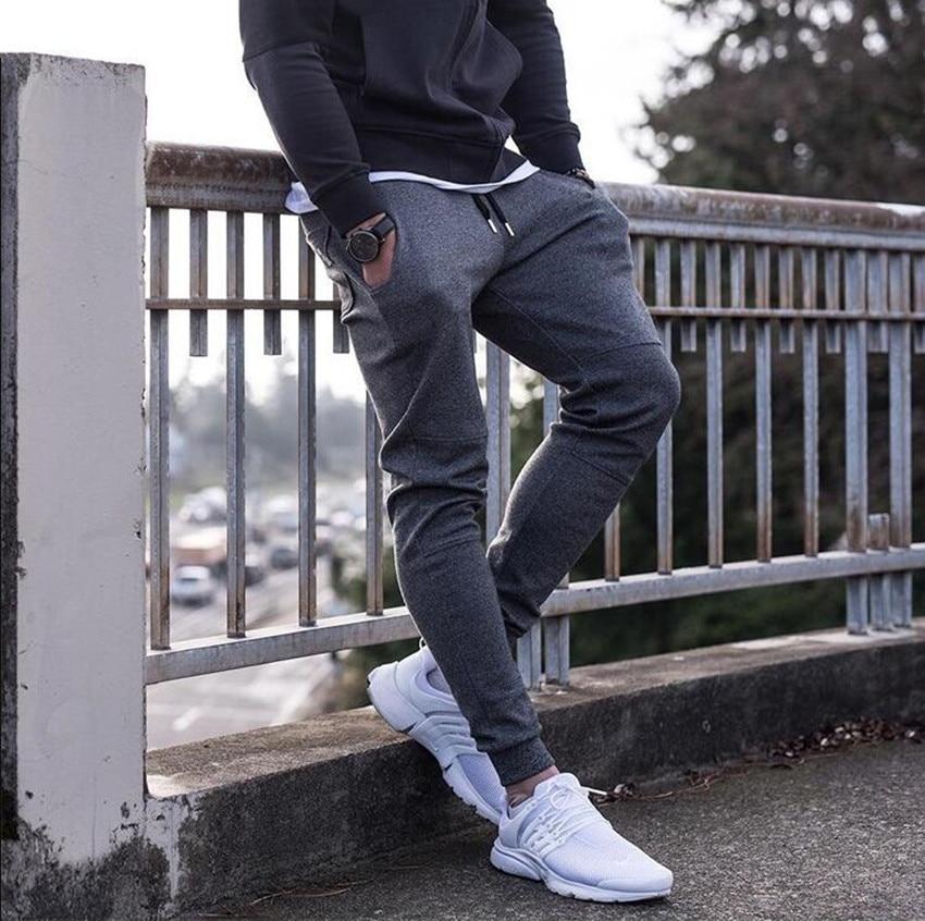 2018 nuevos pantalones de chándal para hombre Otoño Invierno gimnasios Fitness Bodybuilding Joggers pantalones de entrenamiento pantalones casuales de algodón para hombre
