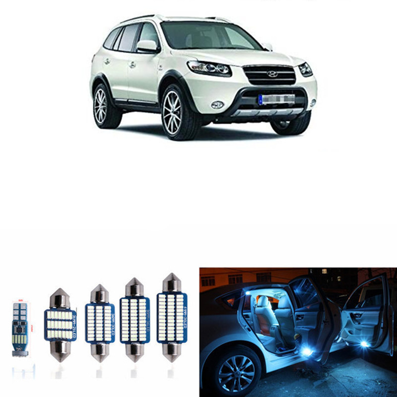 13pcs Error Free White LED Interior Light Kit For 2007-2012 Hyundai Santa Fe Interior Map Dome Trunk License Plate Lamp 12pcs canbus white led light bulbs interior package kit for 2007 2012 mazda cx 7 cx7 map dome trunk license plate lamp pink