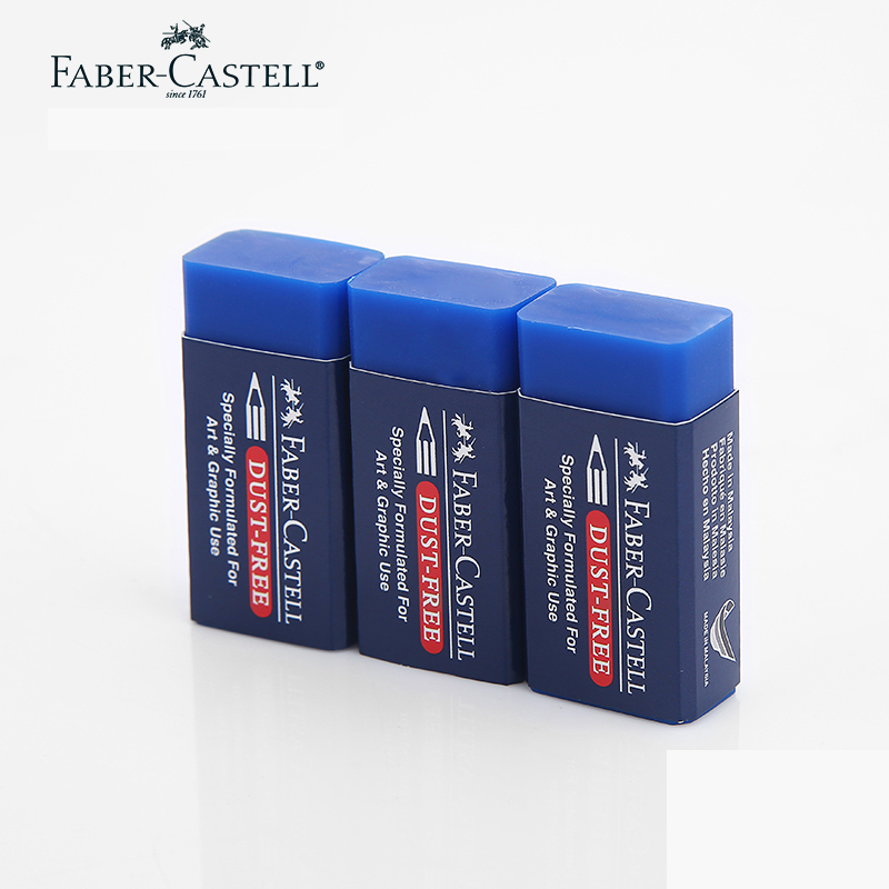 3pcs/lot Faber Castell Colored Pencil Eraser,DUST FREE  Blue Specially Formulated For Art & Graphic Use #187170