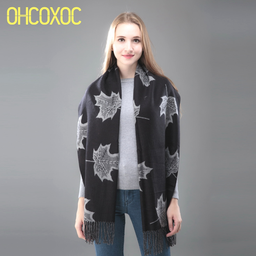 OHCOXOC Women Winter   Scarves     Wraps   Leaf Cashmere Warm   Scarves