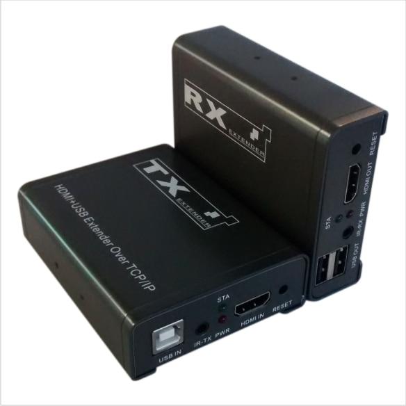 100 m HD 1080 P HDMI USB Extender 1x1 séparateur avec RJ45/cat5e/6 câble ethernet IR Extender support moniteur projecteur PC HD100U-1