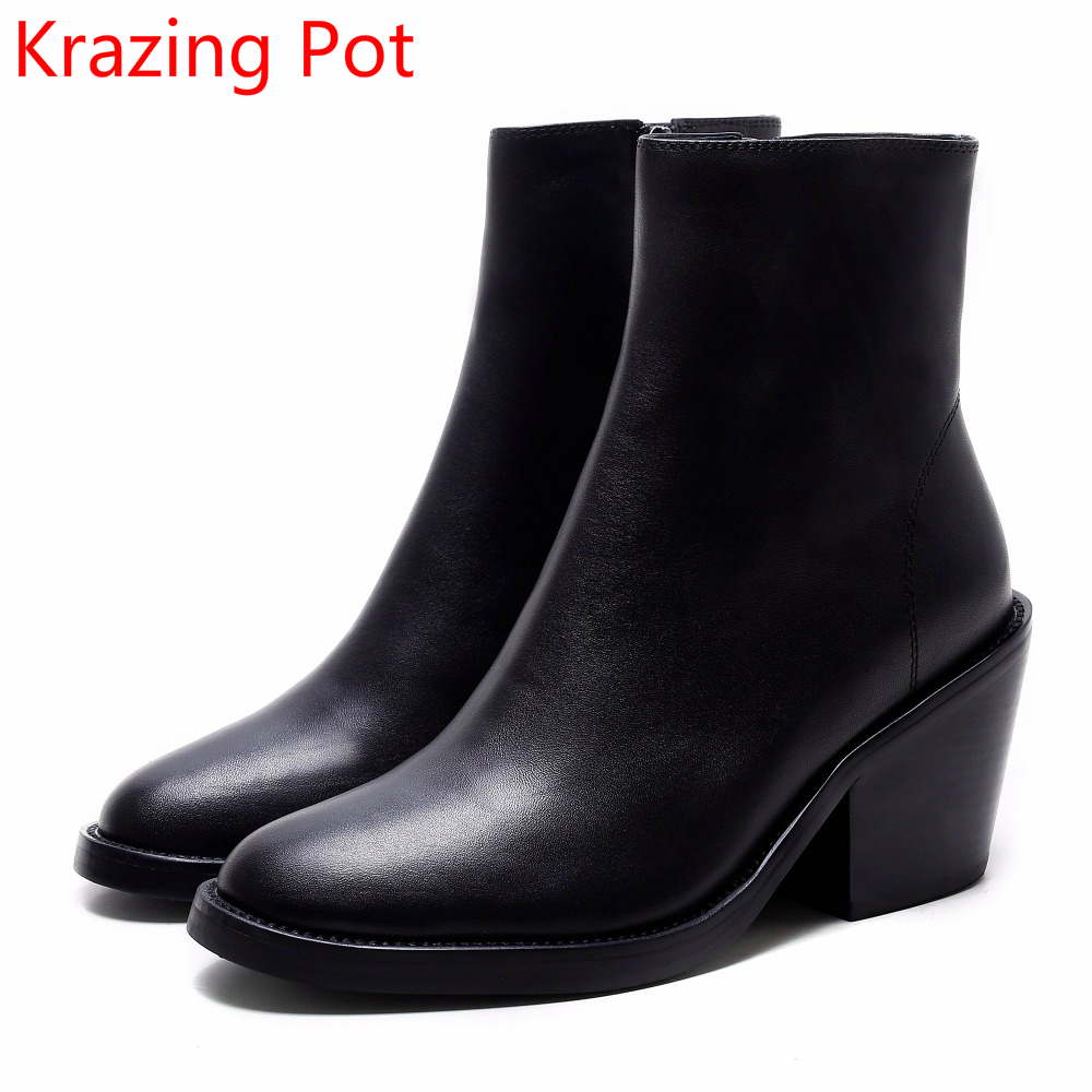 2018 Handmade Classics Zipper Genuine Leather High Heels Solid Round Toe Keep Warm Superstar Handmade Women Mid-calf Boots L7a new arrivals genuine leather concise zipper wedges high heels round toe platform solid black mid calf boots women warm shoes