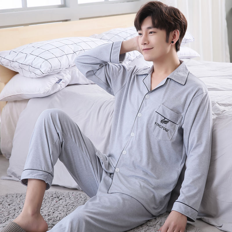 2018 New Pajamas Men Cotton Long sleeve Knitted Sleep Spring Autumn Mens Pyjamas Lounge Men Pajama