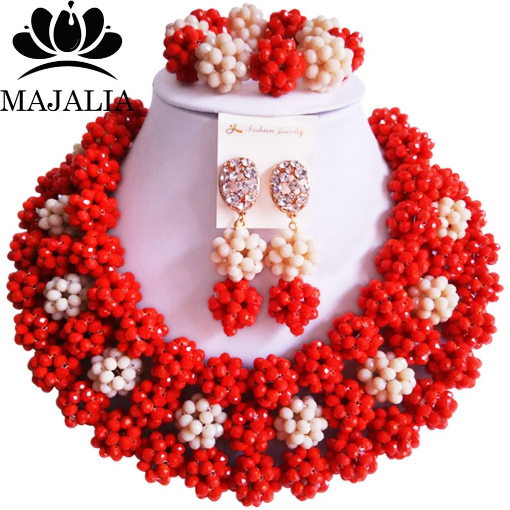 купить Fashion african wedding beads red nigerian wedding african beads jewelry set Crystal Free shipping Majalia-330 по цене 3495.07 рублей