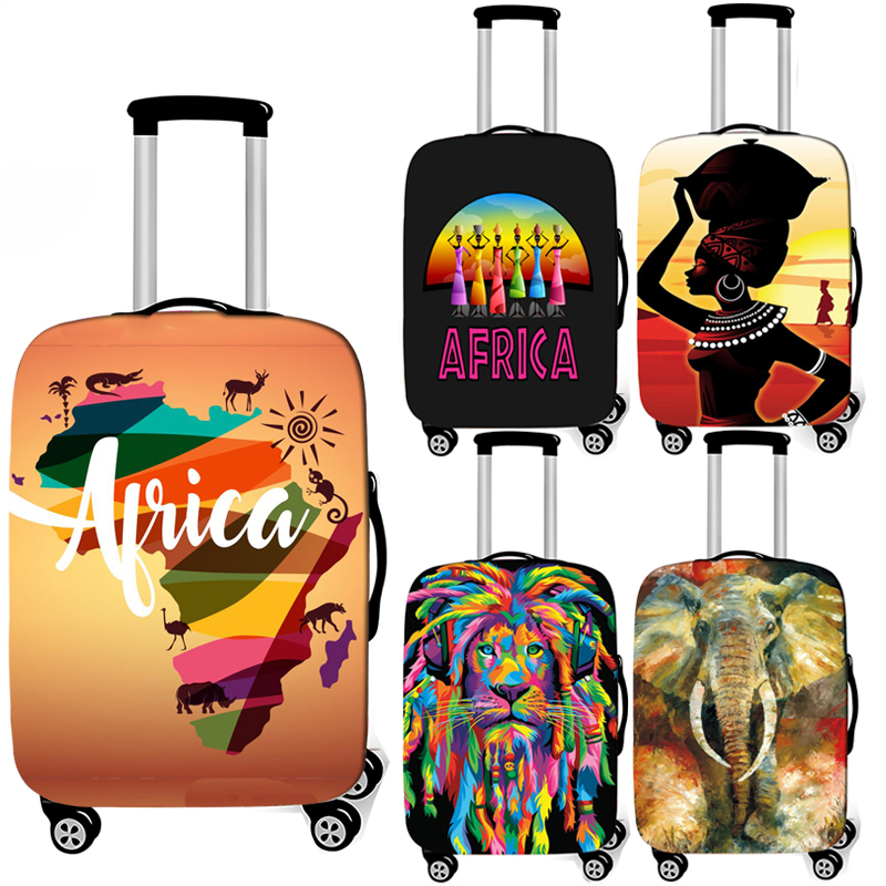 Africa Map / Roots Luggage Cover Afro Regge Lion Elastic Suitcase Cover For Travel Bag Anti-dust Trolley Case Baggage Covers