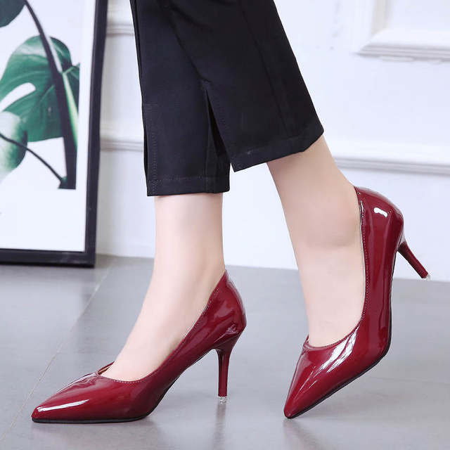 2019 HOT Women Shoes Pointed Toe Pumps Patent Leather Dress  High Heels Boat Shoes Wedding Shoes Zapatos Mujer Blue White 51
