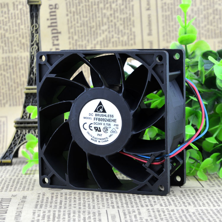 Delta Electronics FFB0924EHE -F00 Server Square Cooling Fan DC 24V 0.75A 90x90x38mm 3-wire