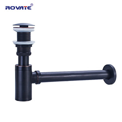 ROVATE Basin Bottle Trap Brass Bathroom Sink Siphon Drains with Pop Up Drain Black P-TRAP Pipe Waste