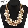 Danfosi Fashion Women Maxi Necklaces Gold Color Chain Imitation Pearls Beads Crystal Collar Chokers Chunky Necklaces & Pendants