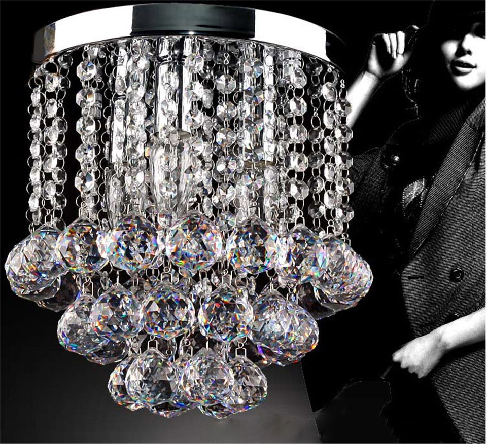 Ceiling light led Lights E14 Bulb k9 Crystal Stainless steel base Modern Round Design Bedroom Dining room Restaurant Foyer Small ...