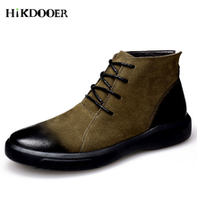 цена на Genuine Leather Men Boots Autumn Winter Ankle Boots Fashion Footwear Lace Up Shoes Men High Quality Vintage Leather Shoes