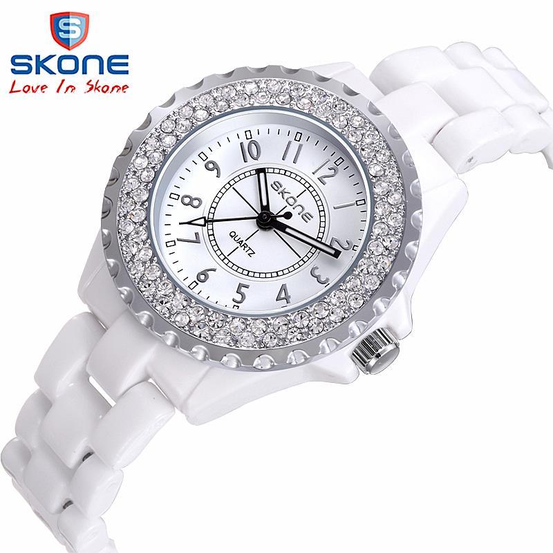 Keramik uhr Mode Lässig Frauen quarz uhren relojes mujer SKONE marke luxus armbanduhren Mädchen elegante Kleid uhr 7242 GB