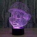 Super Mario Acrílico 3D Colorido Led night light mudança de 7 cores de natal humor lâmpada botão de toque iluminação Decorativa IY803323
