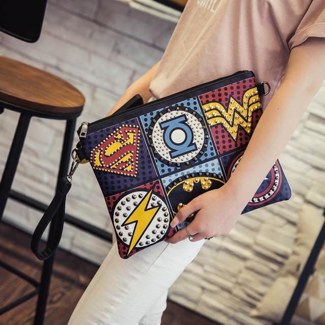 Unisex Marvel Clutch Fashion Retro PU Leather Supercool Superhero Avengers Rivet Gothic Punk Handy Wrist Clutch Bag