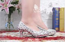 2016 Sexy And Style Silver Crystal Wedding Dress font b Shoes b font Woman Party font