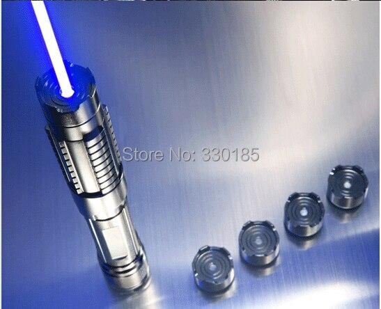 Potente 450nm 5000000 m 5in1 Forte potere militare puntatore laser blu che brucia partita candela accesa sigaretta wicked lazer torcia Watt