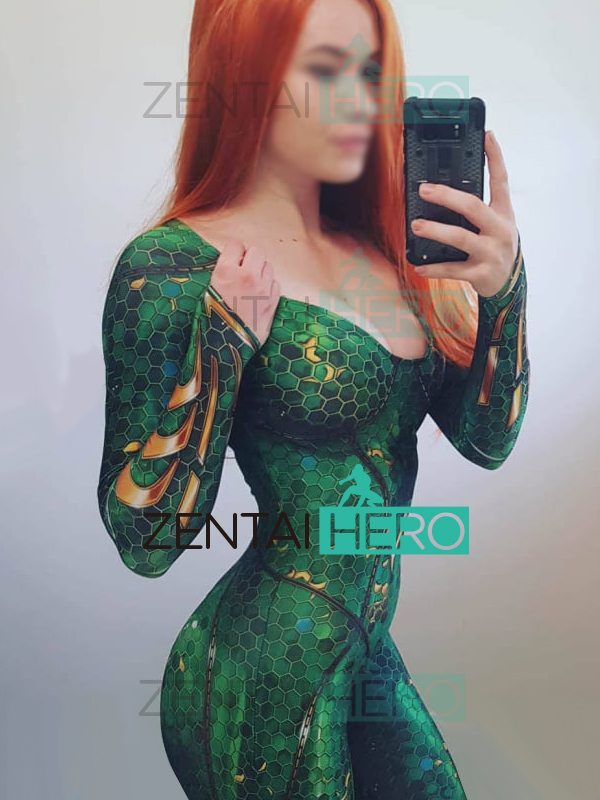 3D Printing Mera Aquaman Movie Version Costume Spandex Aquaman Cosplay Superhero Costume Custom Made Lycra Zentai