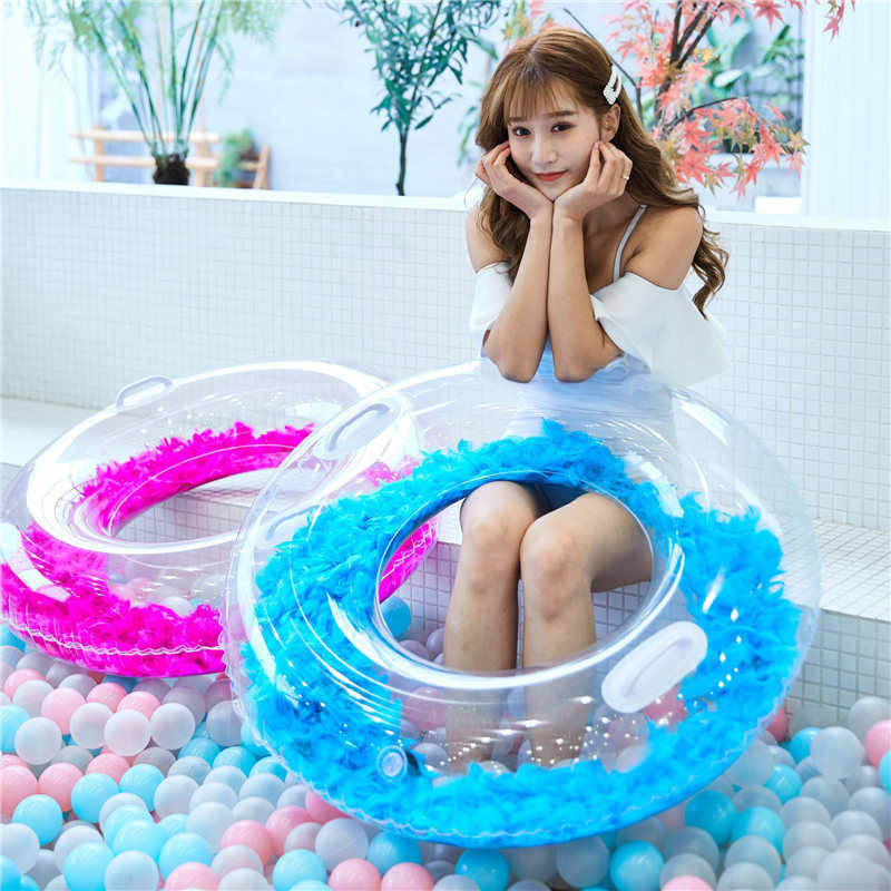Inflatable Shiny Pool Float Heart Swimming Ring Shining Love Circle Pool Ring Swimming Float Heart Tube Swim Ring Pool Toy