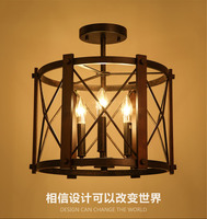 American Industrial Vintage Loft Style Circle Wrought Iron Ceiling Lights Aisle Lamp Foyer Cafe Decoration Light